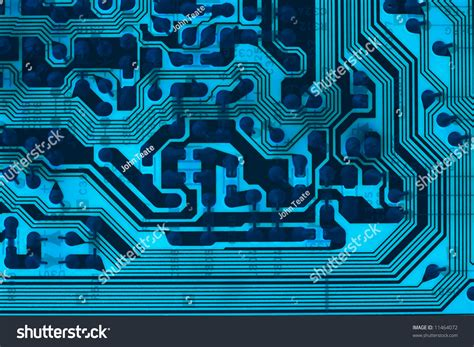 Backlit Blue Electronic Circuit Board Stock Photo