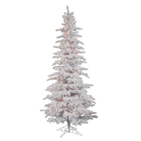 7 5 foot flocked white slim spruce tree multi colored