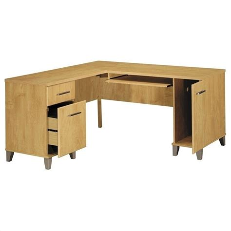 bush somerset desk assembly bush somerset 60 quot l shape wood computer desk in maple