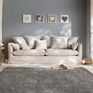 canape lin 3 places quotodilonquot beige With tapis design avec jeté de canapé en lin
