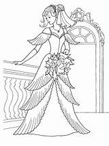 Coloring Dresses Princess Pages Sheet Colouring Printable Cartoon Barbie sketch template
