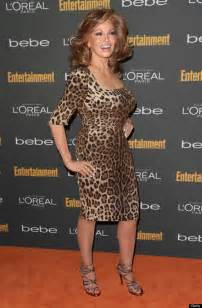 big gold hoop earrings raquel welch stuns at pre emmy party in leopard print