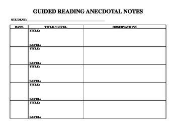 guided reading anecdotal notes reading forms pinterest