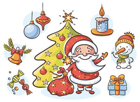 Set With Santa, Snowman, Candle, Present, Christmas Tree