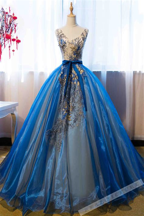 blue organza applique  neck   prom dressball gown