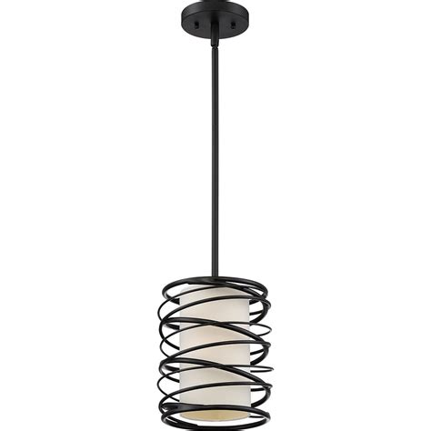 quoizel spl1508k spiral modern mystic black mini hanging