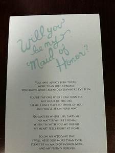 maid of honor ask wedding ideas pinterest With asking maid of honor letter