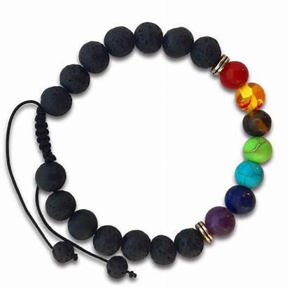 Braided Bracelet Chakras Lava Stone Transparent Chakra