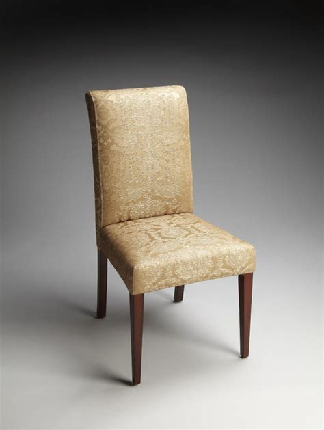 gold damask fabric parsons chair traditional dining
