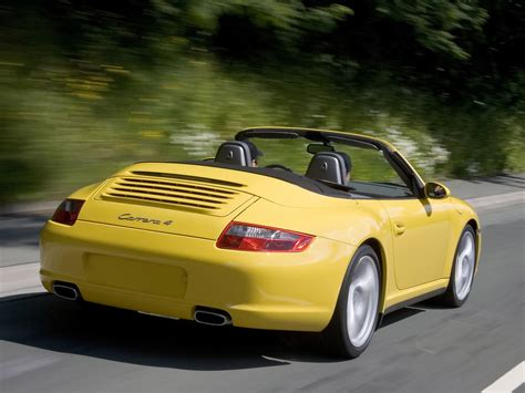 2007 Porsche 911 Carrera 4 Yellow Rear Angle Speed