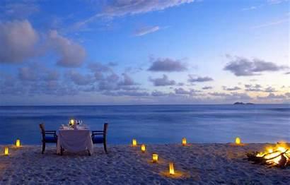Romantic Beach Dinner Candles Ocean Romance Fire