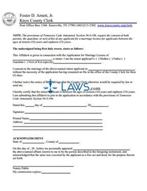 form minor marriage consent tennessee forms lawscom