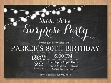 Surprise 80th Birthday Invitation. Chalkboard 30th 40th 50th Welcome A Baby Boy What Can You Bring To The Team Are Your Skills Interview Question Well Written Essay Examples Some Of Strengths Questions And Color Is My Parachute Quiz Do I Put In Resumes