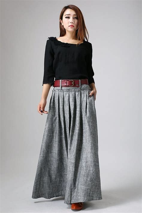 Best 25+ Grey maxi skirts ideas on Pinterest | Easy thin pancake image Long black skirt outfit ...