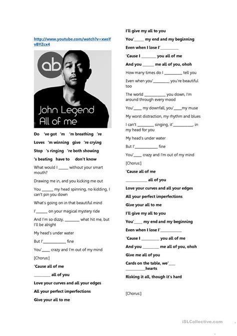 john legend lyrics worksheet  esl