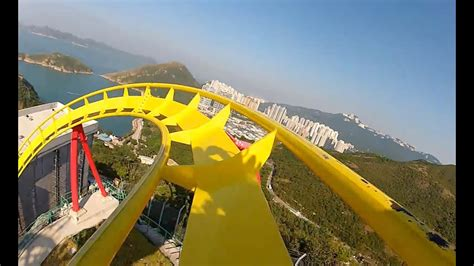 hair raiser roller coaster pov ocean park hong kong bm floorless  ride youtube
