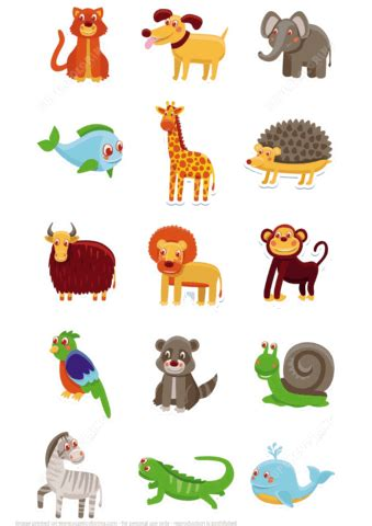 animals printable stickers  printable papercraft