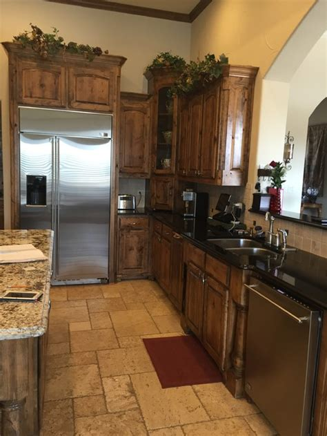 brown knotty alder kitchen cabinets  white