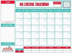 FREE Downloadable Fitness Calendar No Excuse Mom