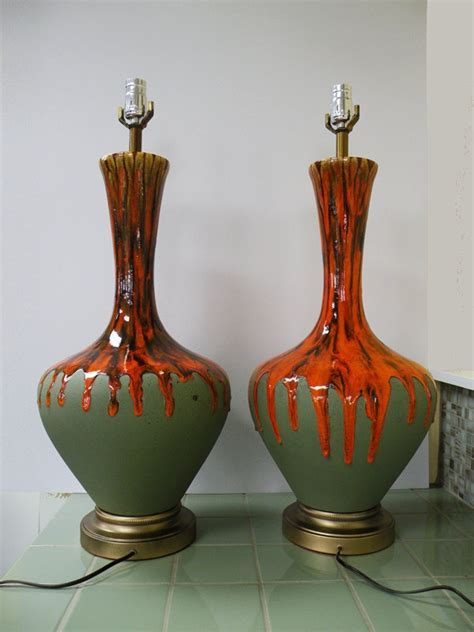 RESERVED FOR LAREESE // Pair of Huge Orange Drip Glaze