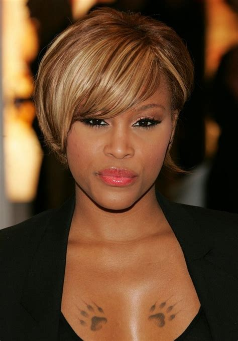 trendy african american short straight haircut celebrity