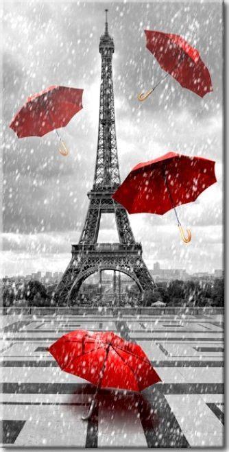 bild auf leinwand paris red umbrellas eiffelturm kunst