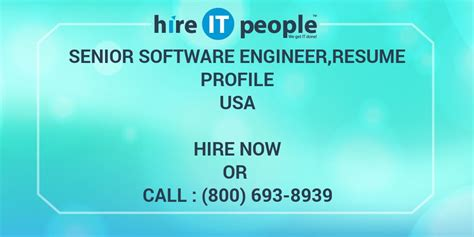 senior software engineer resume profile hire it