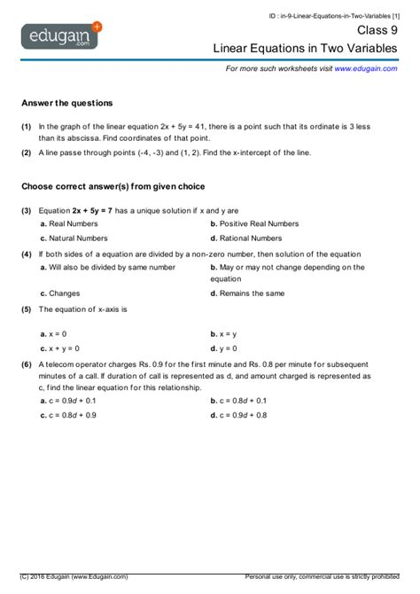 year  math worksheets  problems linear equations