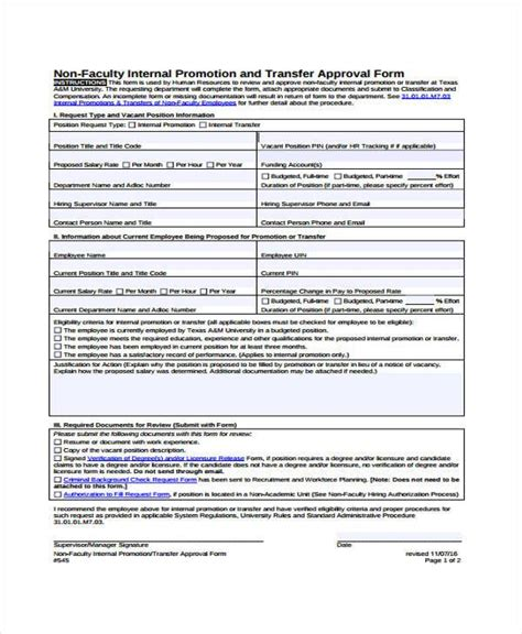 sample employee promotion forms   ms word