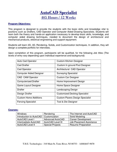 Architectural Engineering Internship Resume by Autocad Engineer Sle Resume 20 Draftsman Mechanical