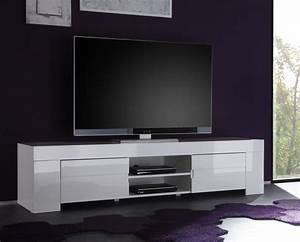 Meuble TV Hifi Blanc Laqu Design ESMERALDA