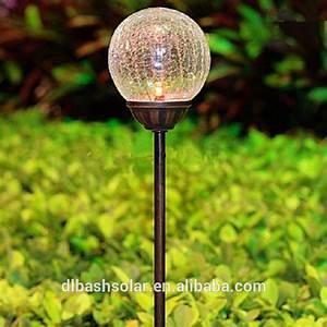 Unique solar garden light colorful crackle glass globe ball pendant buy
