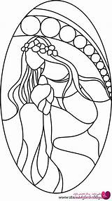 Coloring Stained Glass Patterns Pages Designs Flowers Mosaic Painting Lady Faux Flower طرح ویترای Outline Pattern خام Mermaid برای Cricut sketch template