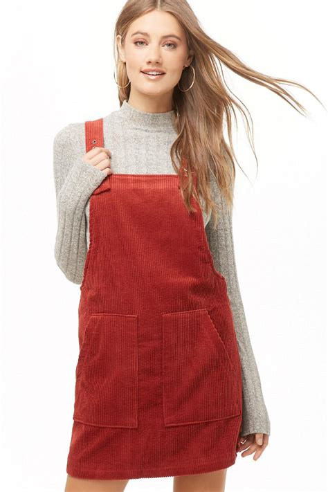 Lyst - Forever 21 Corduroy Overall Dress in Red
