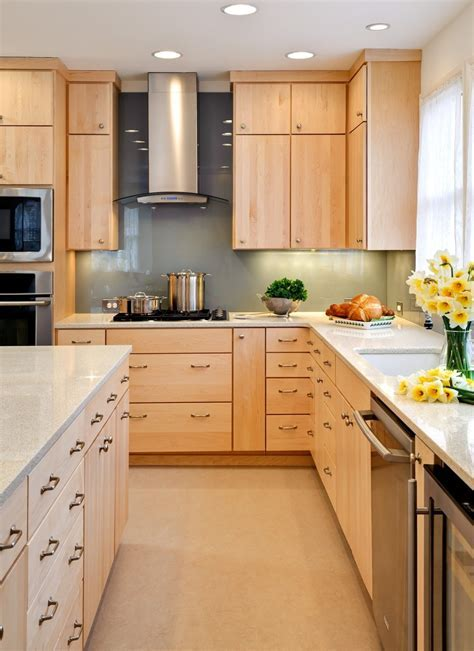 Small Kitchen With Maple Cabinets Mixed White Stainless