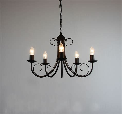 the quot hambleton quot collection 5 arm wrought iron chandelier