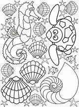 Seaside Colouring Creatures Beach Printable Printables sketch template