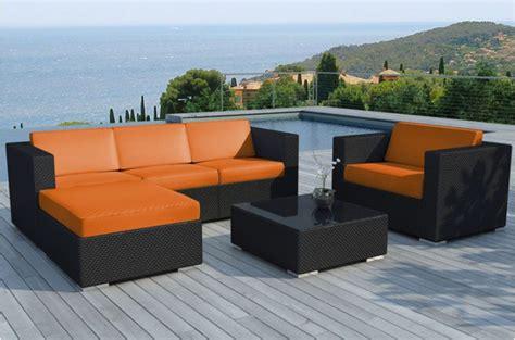 le exterieur pas cher salon de jardin r 233 sine tress 233 e noir et orange lagon