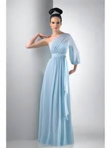 Bud Light Clothing by One Shoulder Long Sleeve Chiffon Blue Bridesmaid Dresses