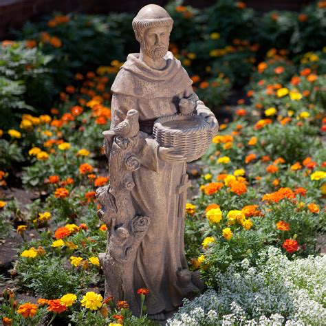 st francis garden statue st francis bird feeder statue at hayneedle