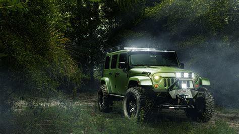 Trees, Landscape, Car, Jeep Wrangler, Off Road