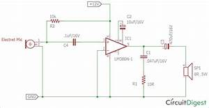 Simple Microphone To Speaker Amplifier Circuit Diagram