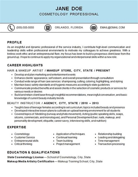 cosmetology makeup artist hairstylist resume resume