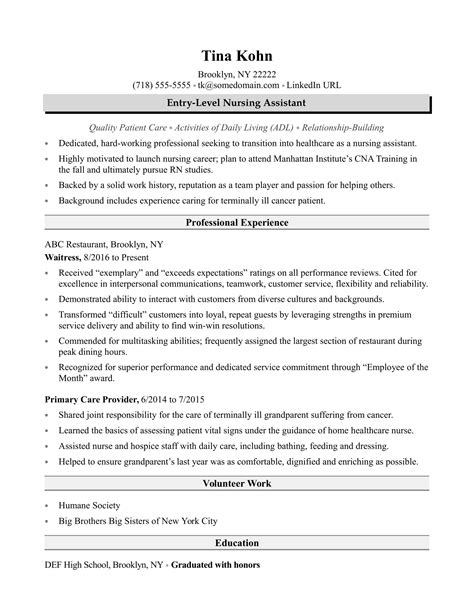 Entry Level Certified Nursing Assistant Resume by Nursing Assistant Resume Sle