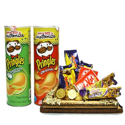box of chips lets enjoy 2 box of chips along with basket of assorted chocolates myflowergift