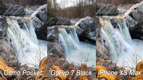 dji osmo pocket  gopro  black iphone xs max kfps video quality comparison youtube