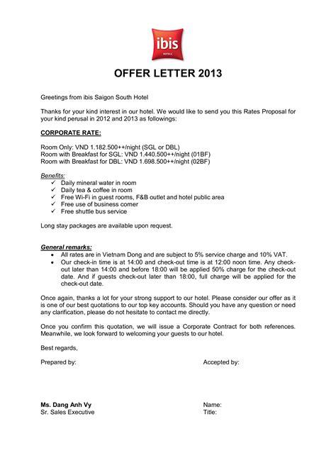 hotel offer letter format allbusinesstemplatescom