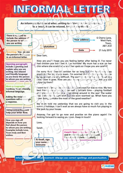 informal letter english literacy educational school posters