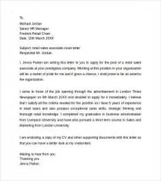Cover Letter For Retail Sales Associate Sle Retail Cover Letter Templates 8 Free Documents In Word Pdf