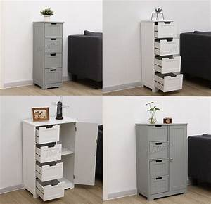 Westwood, Bathroom, Storage, Cabinet, Wooden, 4, Drawer, Cupboard, Free, Standing, Unit